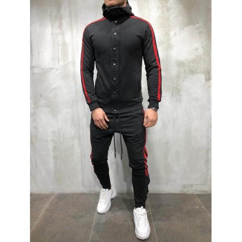 Спортивный костюм черный с красным BRS