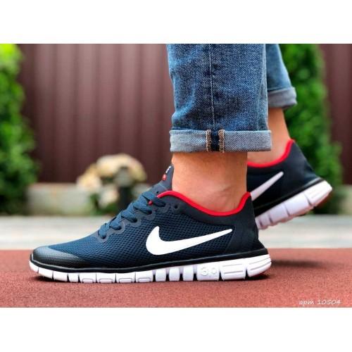 Nike free run 3.0 синие белая подошва
