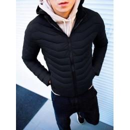 Осенняя Куртка черная мужская с капюшоном