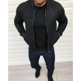 Мужская куртка бомбер черная