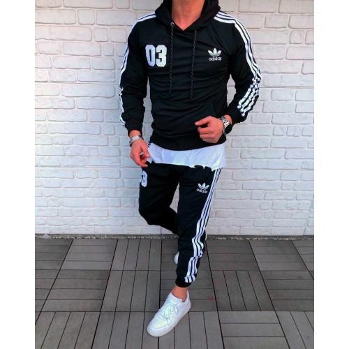 Спортивный костюм Адидас мужской черный три полоски