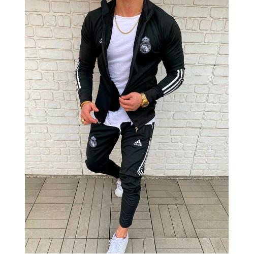 Мужской спортивный костюм Adidas черный Реал Мадрид
