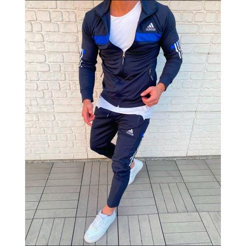 Фирменный спортивный костюм мужской адидас синий