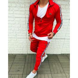 Спортивный брендовый костюм красный