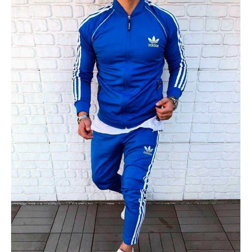 Мужской спортивный костюм Adidas синий три полоски