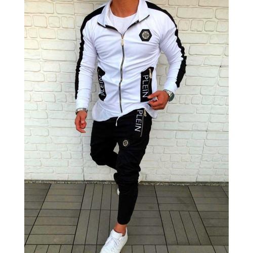 Мужской спортивный костюм PHILIPP PLEIN белый с черным