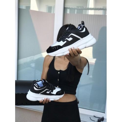 Кроссовки женские Versace черно белые
