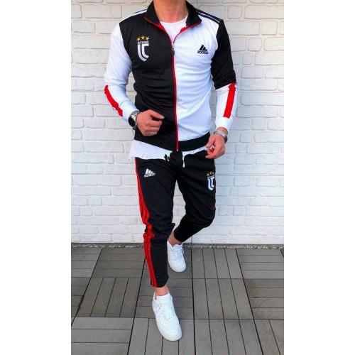 Спортивный костюм Adidas JUVENTUS черно белый с красным