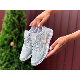 Nike Free Run 3.0 светло серые с розовым
