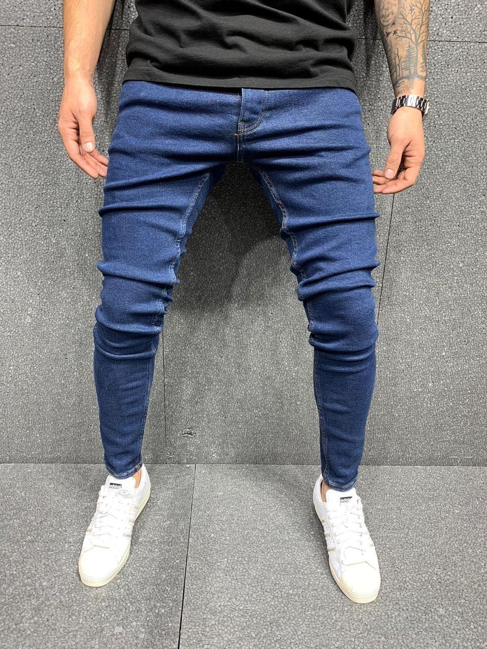 мужские джинсы синие узкачи