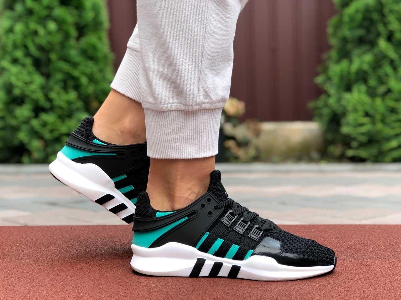 Adidas EQT Running черно белые с зеленым