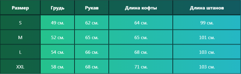 таблица размерная костюм адидас