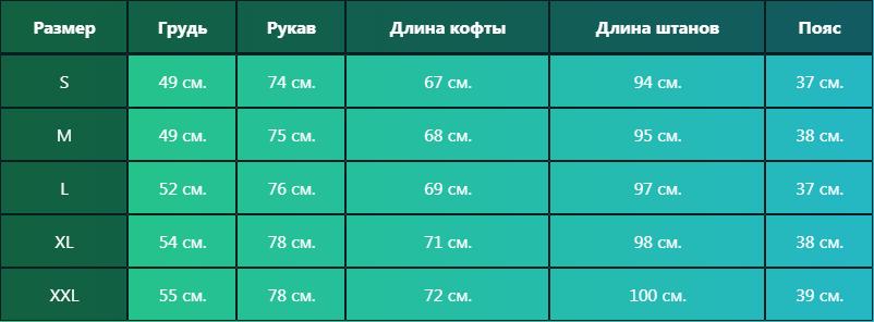 таблица размерная костюма адидас
