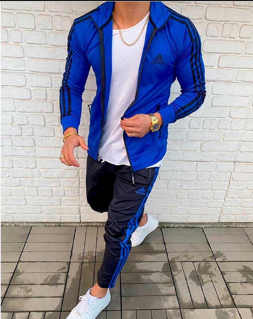 спортивный костюм адидас синий