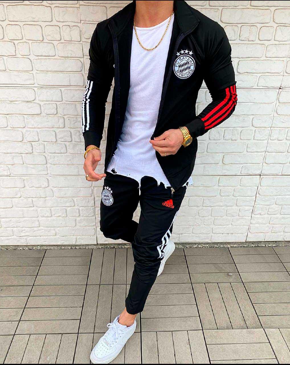 Мужской спортивный костюм Адидас черный Бавария
