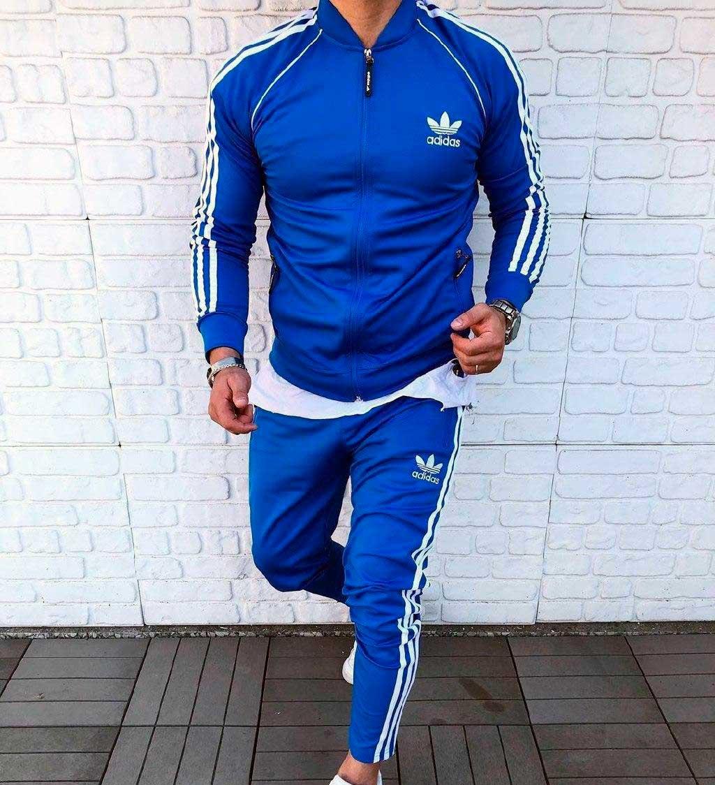 Мусжкой спортивный костюм Adidas голубой